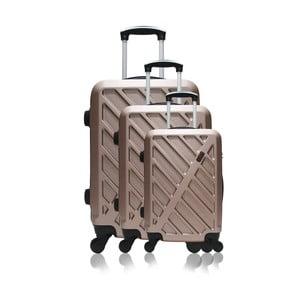 Sada 3 cestovných kufrov na kolieskach vo farbe ružového zlata Hero Roma