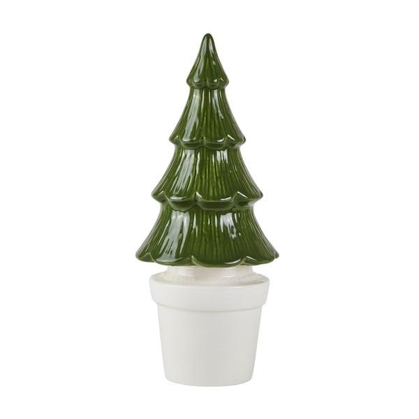 Zelený keramický dekoratívny vianočný stromček KJ Collection, výška 27 cm