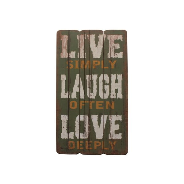 Závesná ceduľa Live, Laugh, Love, 60x30 cm