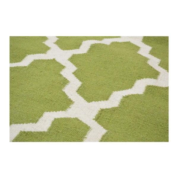 Vlnený koberec Kilim Jasmina Olive, 160x230 cm