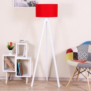 Biela voľne stojacia lampa s červeným tienidlom Kate Louise Beyaz