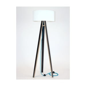 Čierna stojacia lampa s bielym tienidloma tyrkysovým káblom Ragaba Wanda