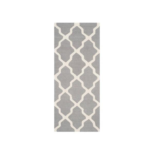 Vlnený koberec Ava, 76x182 cm, sivý