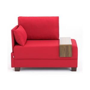 Červené kreslo s opierkou na ruky na ľavej strane a odkladacou doskou Balcab Home Martha