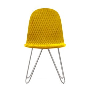 Žltá stolička s kovovými nohami IKER Mannequin X Stripe