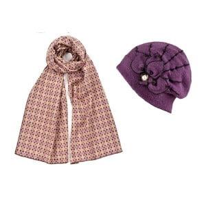 Fialová čiapka so šálom Lavaii Elegant