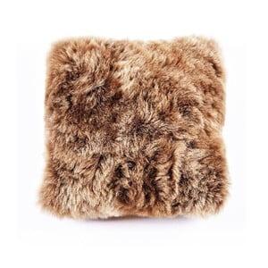 Hnedý kožušinový vankúš s krátkym vlasom Rusty, 35x35cm