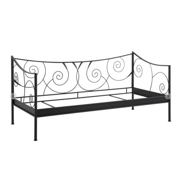 Čierna kovová posteľ Støraa Isabelle, 90 x 200 cm