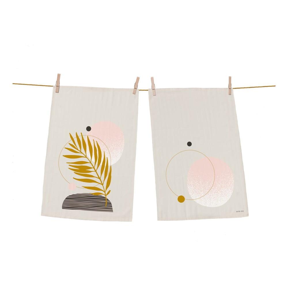 Súprava 2 bavlnených kuchynských utierok Butter Kings Terracota Leaf, 70 x 50 cm