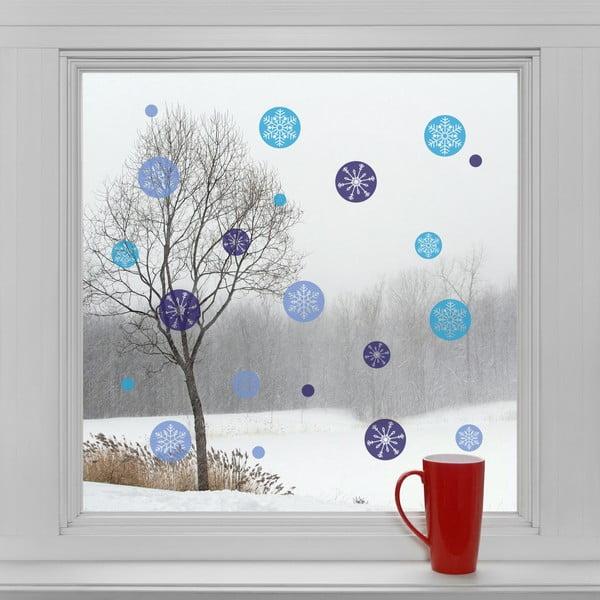 Elektrostatické vianočné samolepky Modré vločky