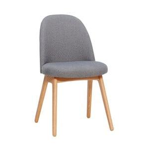 Tmavosivá jedálenská stolička s nohami z dubového dreva Hübsch Gisla