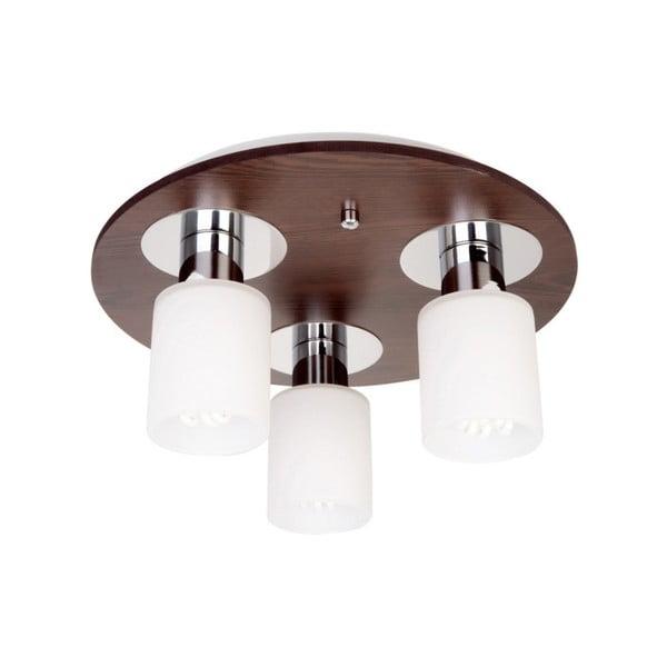 Stropné svietidlo s 3 žiarovkami s drevenou základňou Atlas Round