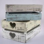 Sada 4 drevených prepraviek Dakls Heart Days