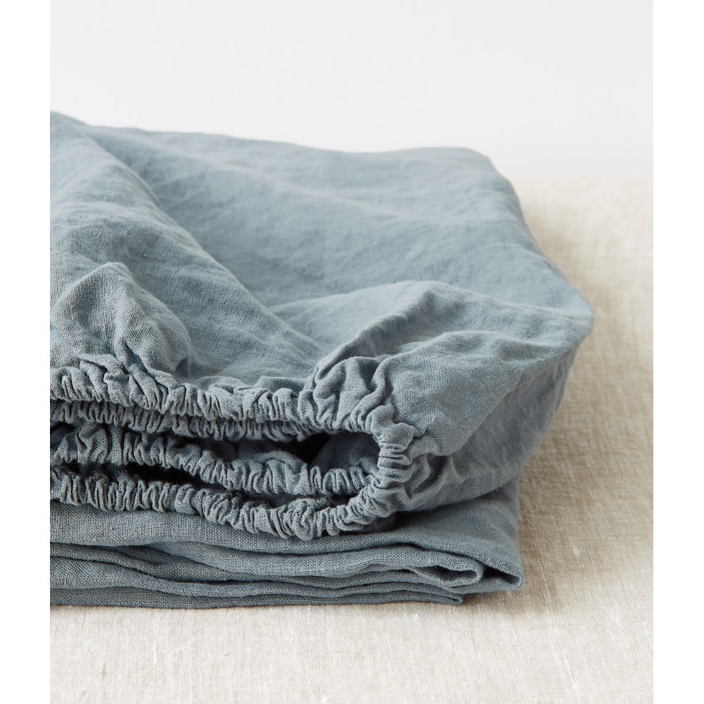 Svetlomodrá ľanová elastická plachta Linen Tales, 180 x 200 cm