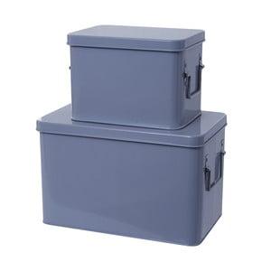 Set 2 skladovacích boxov Present Time Metal Grey