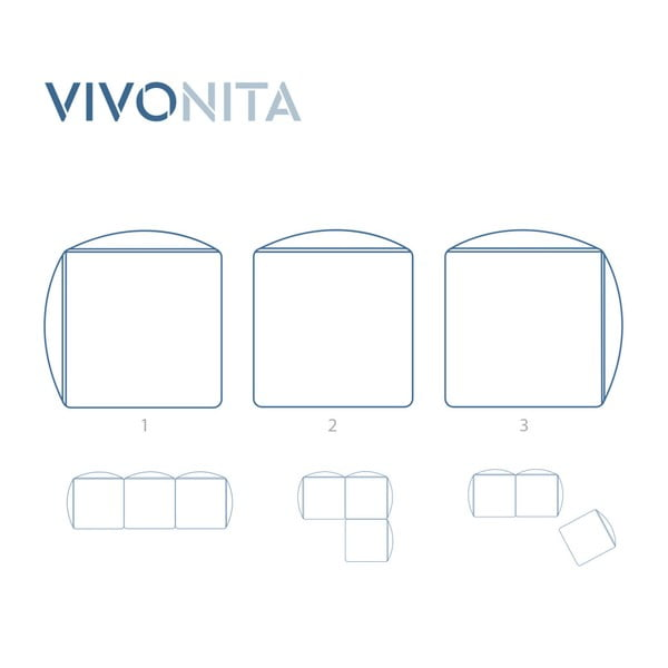 Sivokrémová trojmiestna modulová pohovka Vivonita Velvet Cube