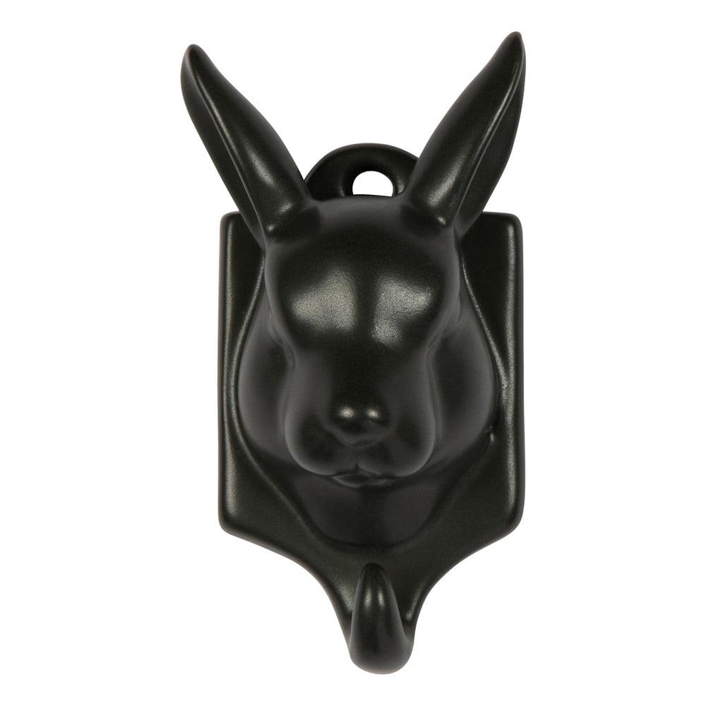 Čierna porcelánová závesná dekorácia WOOOD Nona Hare