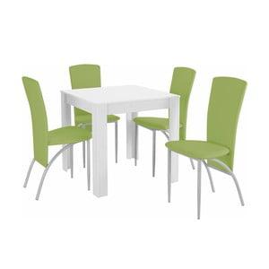 Set jedálenského stola a 4 zelených jedálenských stoličiek Støraa Lori Nevada Duro White Green