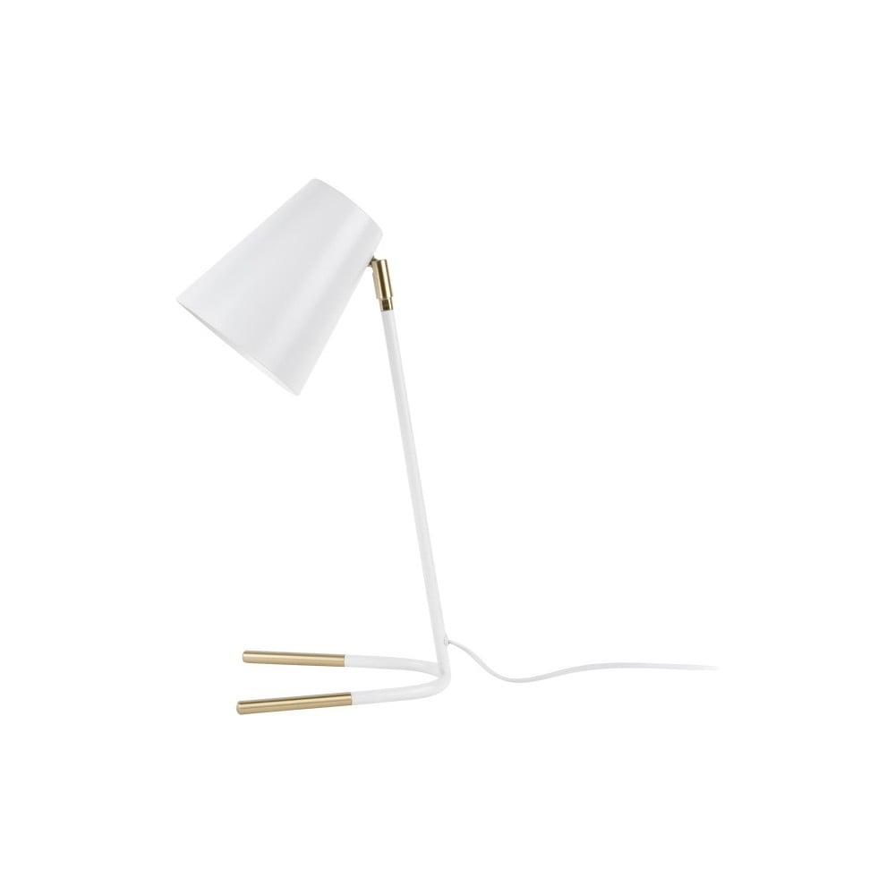 Biela stolová lampa s detailmi v zlatej farbe Leitmotiv Noble