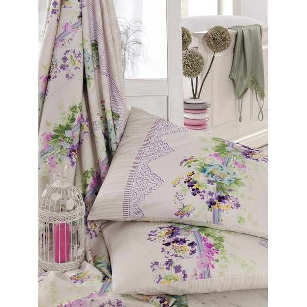 Fialové obliečky s plachtou Love Colors Sarah, 200 x 220 cm
