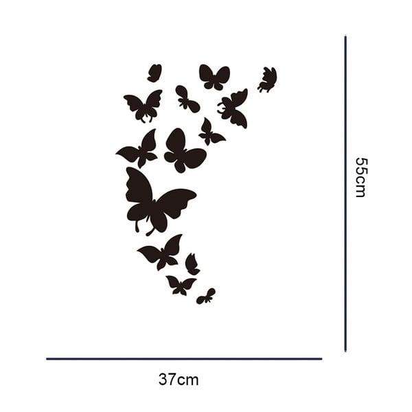 Sada 14 zrkadlových samolepiek Walplus Motýliky
