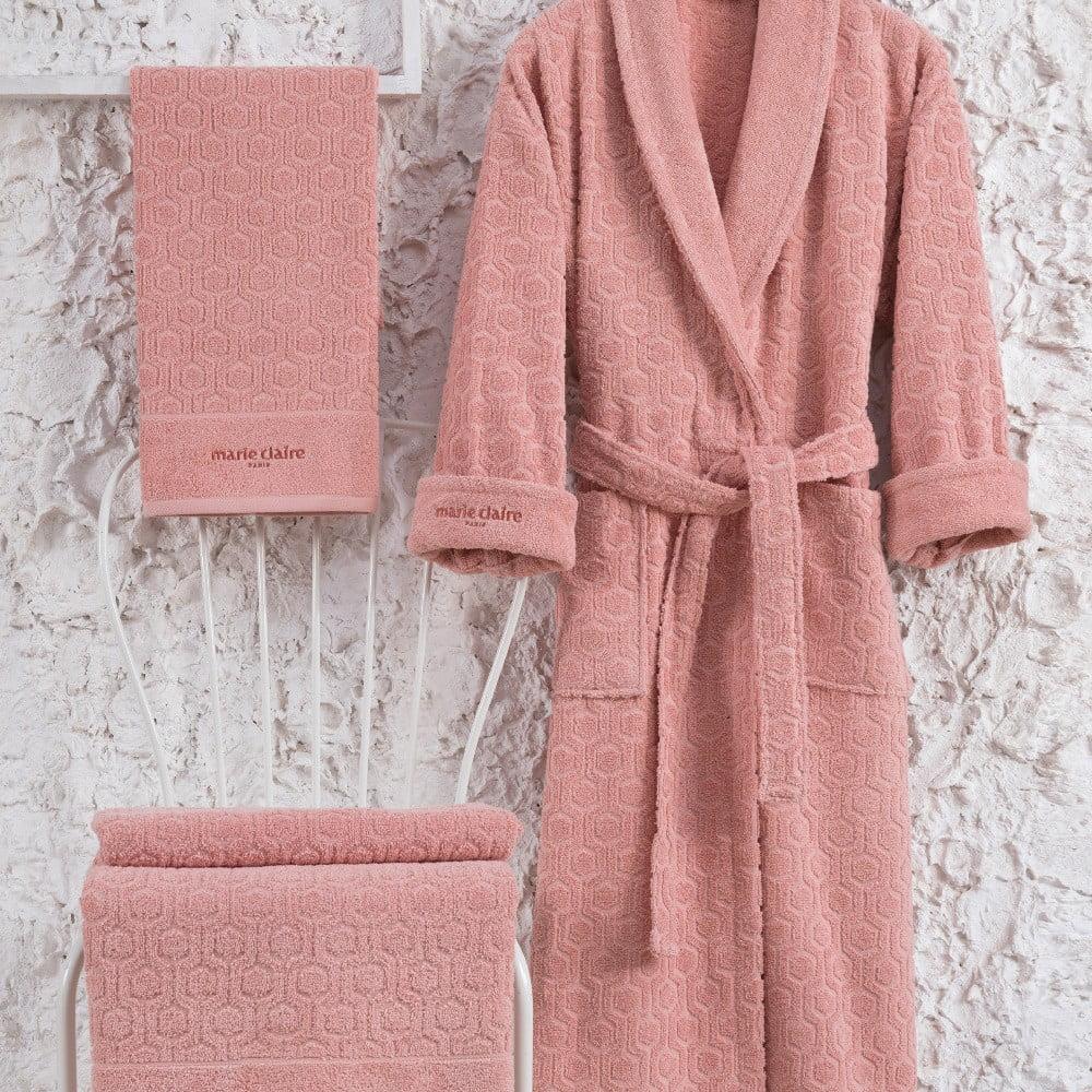 Set ružového bavlneného dámského župana veľkosti M, uteráka a osušky Bathrobe Set Lady