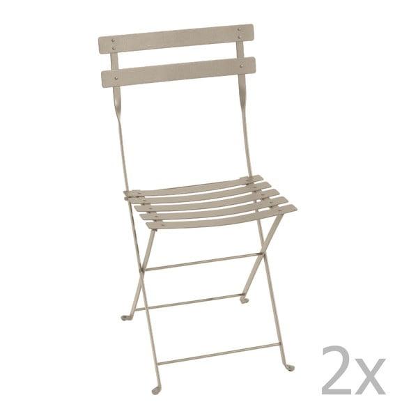 Sada 2 svetlobéžových skladacích stoličiek Fermob Bistro
