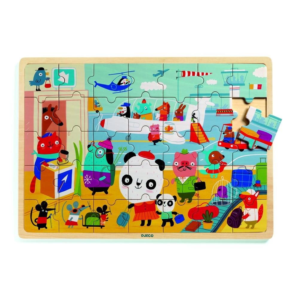 Detské drevené puzzle Djeco Letisko