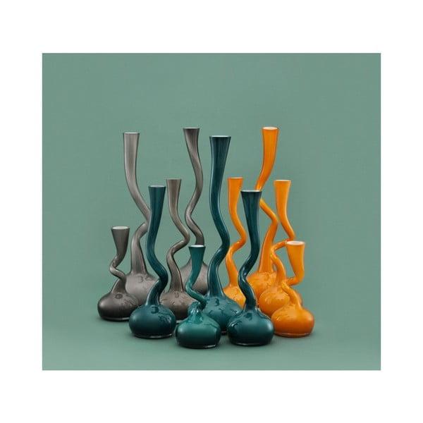 Sklenená váza Swing 30 cm, sivá