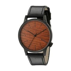 Pánske čierne hodinky s koženým remienkom a ciferníkom v dekore dreva Komono