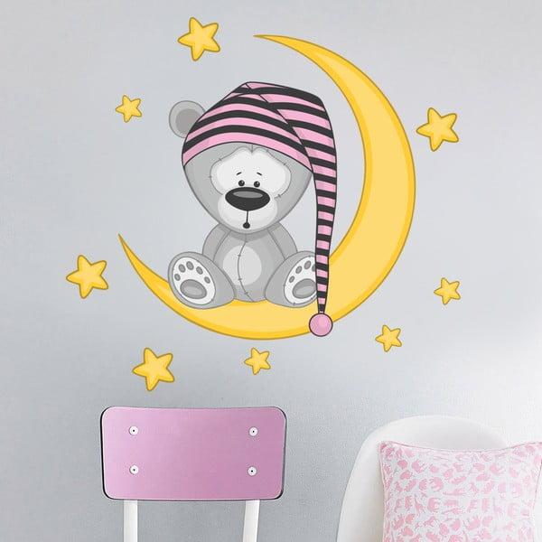 Samolepka Zaspatý medvedík pre dievčatá, 70x50 cm