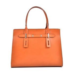 Koňakovohnedá kožená kabelka Mangotti Bags Marcia