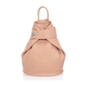Ružovobéžový kožený batoh Lisa Minardi Narni