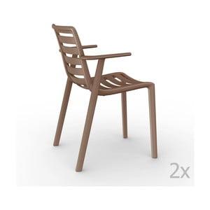 Sada 2 hnedých záhradných stoličiek sopierkami Resol Slatkat