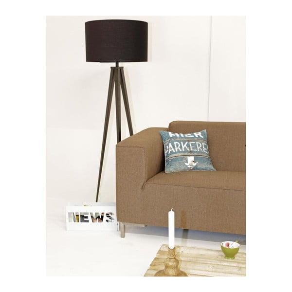Čierna lampa s drevenými nohamiTripodwood