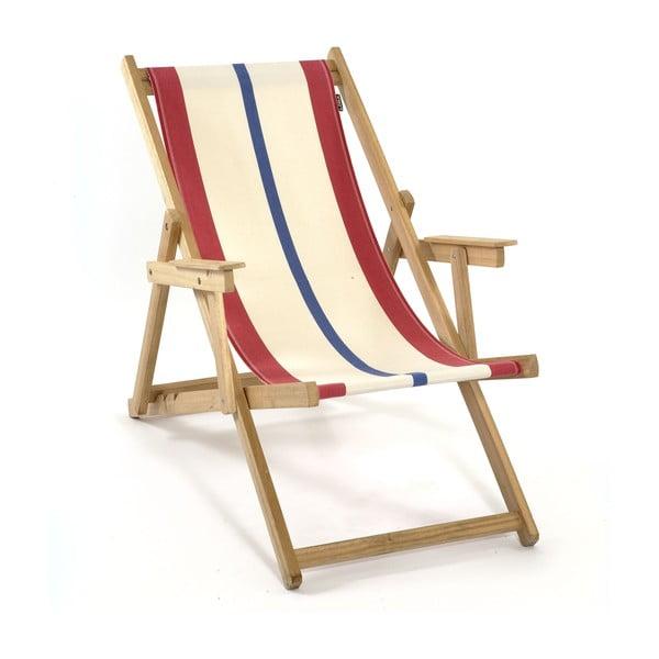 Skladacie ležadlo Beach, modro-červené prúžky
