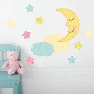 Samolepka na stenu Farebný mesiačik