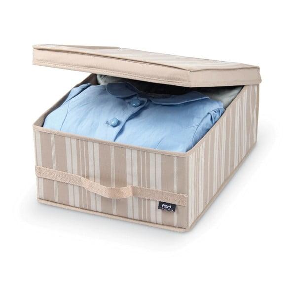 Béžový úložný box Domopak Stripes, dĺžka 45 cm