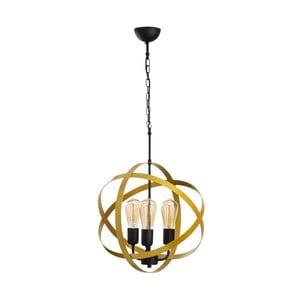 Čierne kovové závesné svietidlo v zlatej farbe Opviq lights Irina