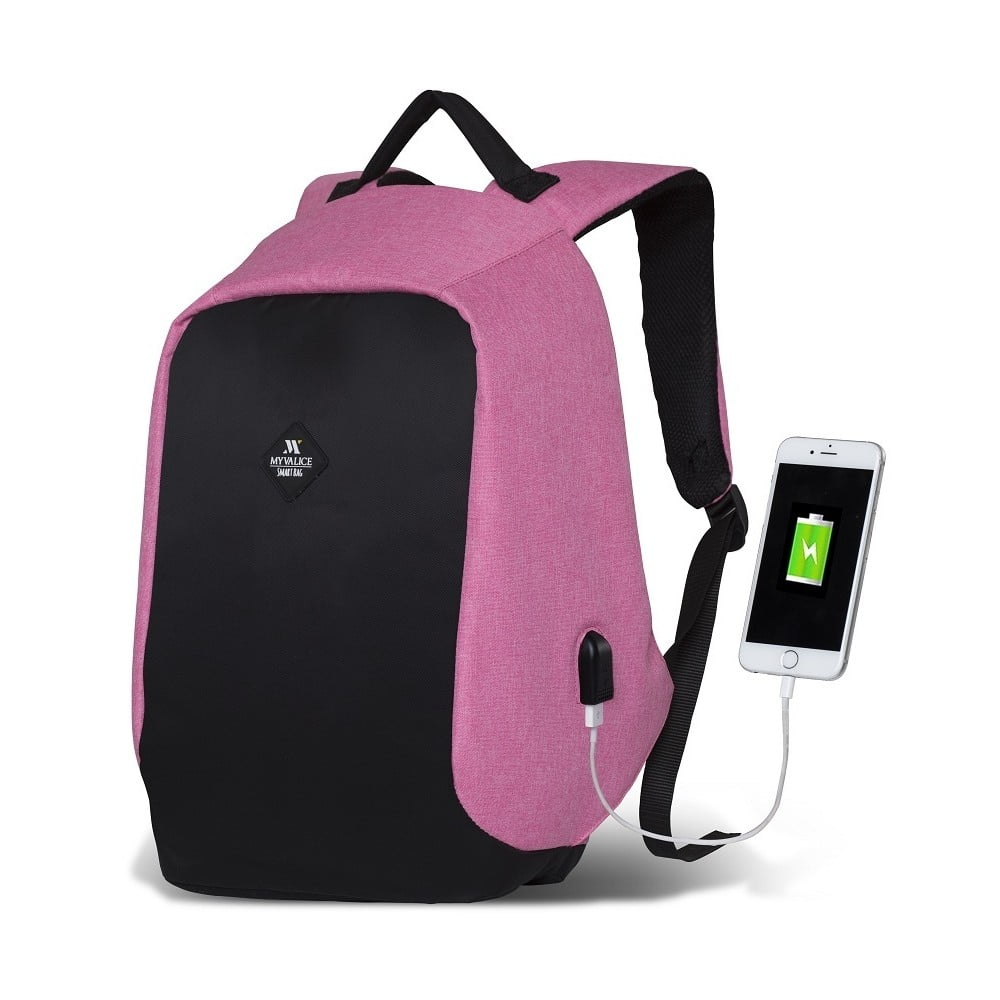 Čierno-ružový batoh s USB portom My Valice SECRET Smart Bag