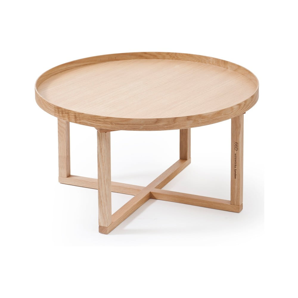 Okrúhly drevený stolík z dubového dreva Wireworks Round, ⌀ 66 cm