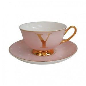 Ružový hrnček s tanierikom s písmenom Y Bombay Duck