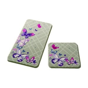 Sada 2 kúpeľňových predložiek Confetti Bathmats Butterfly Plaid
