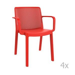 Sada 4 červených záhradných stoličiek sopierkami Resol Fresh