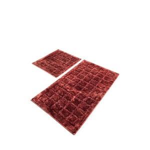 Sada 2 červených bavlnených kúpeľňových predložiek Confetti Bathmats Jean Dusty Rose