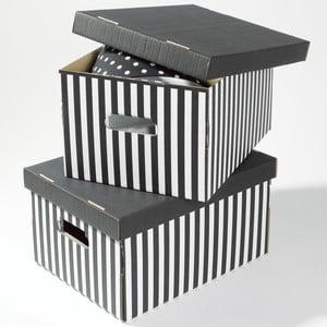 Set 2 úložných krabíc Compactor Striped Dark Grey