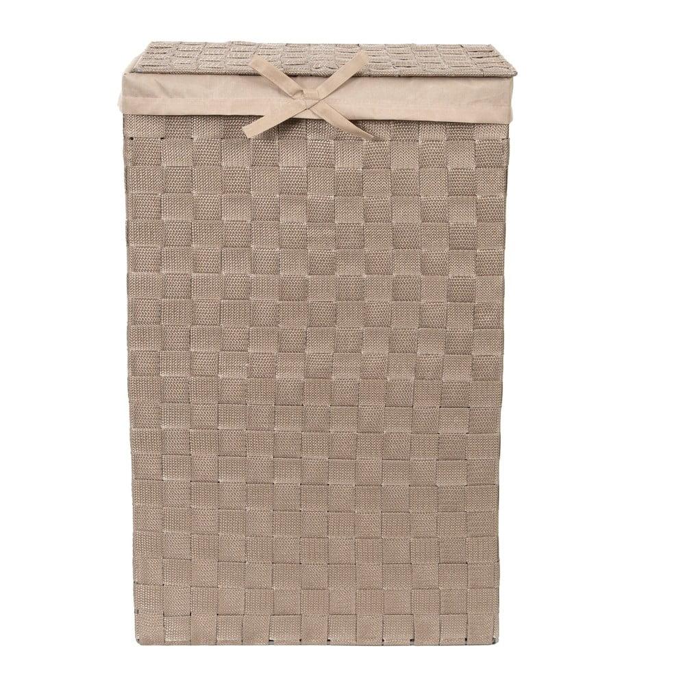 Hnedý kôš na bielizeň s vekom Compactor Laundry Basket Linen, výška 60 cm