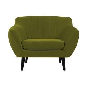 Zelené kreslo Mazzini Sofas Toscane, čierne nohy
