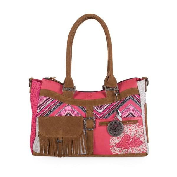 Ružovo-biela kabelka Lois, 43 x 25 cm