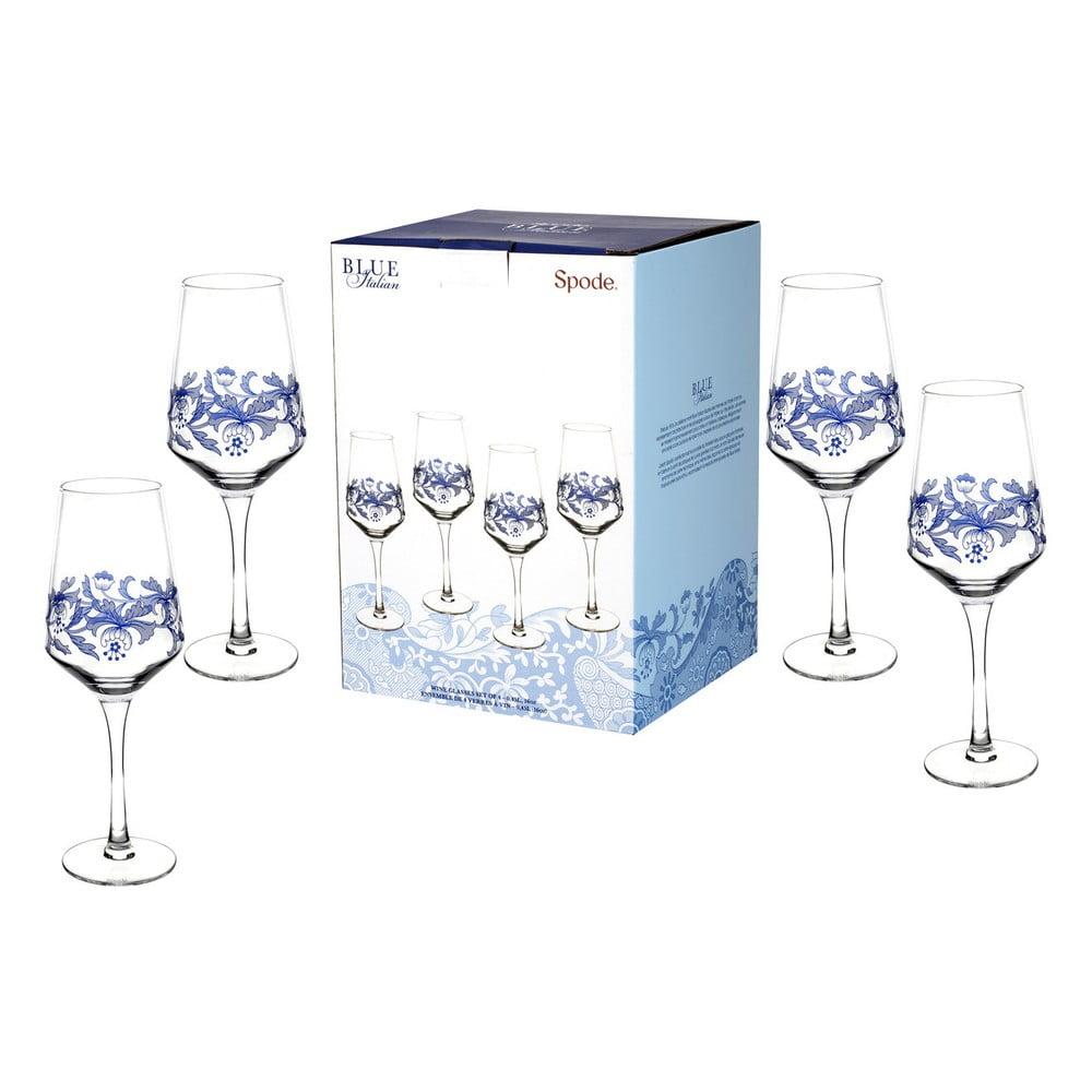 Sada 4 bielo-modrých sklenených pohárov na víno Spode Blue Italian, 450 ml